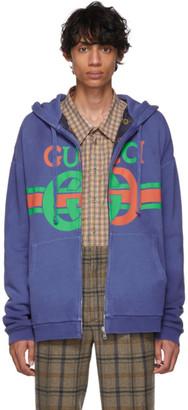 Gucci Reversible Blue Logo Hoodie