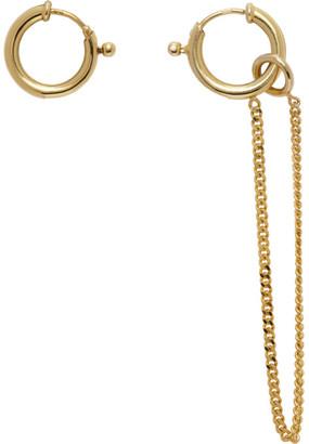 MM6 MAISON MARGIELA Gold Asymmetric Chain Drop Earrings