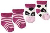 Jo-Jo JoJo Maman Bebe 2 Pack Socks (Baby)-Fuchsia-0-6 Months