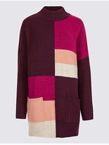 M&S Collection Colour Block Turtle Neck Tunic Jumper