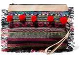 Antik Batik Fringed Pompom-Embellished Leather-Trimmed Embroidered Canvas Clutch