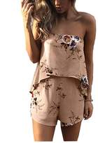 Subtle Flavor Women's Sexy Floral Print Off Shoulder Backless Summer Short Jumpsuit romper