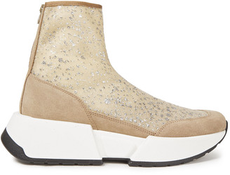 MM6 MAISON MARGIELA Suede-trimmed Glittered Mesh Sneakers