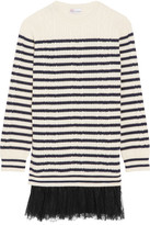 RED Valentino Chantilly Lace-trimmed Striped Cable-knit Wool Mini Dress - Cream