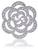 Bling Jewelry CZ Flower Open Rose Wedding Brooch Pin Rhodium Plated