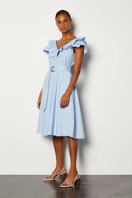 Karen Millen Cotton Poplin Ruffle Belted Dress