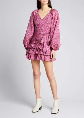 LoveShackFancy Rina Tiered Floral-Print Blouson-Sleeve Dress