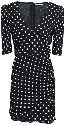 Alice + Olivia Wrap-effect Ruched Polka-dot Jersey Mini Dress