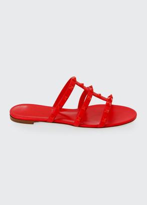 Valentino Tonal Rockstud Flat Leather Slide Sandals