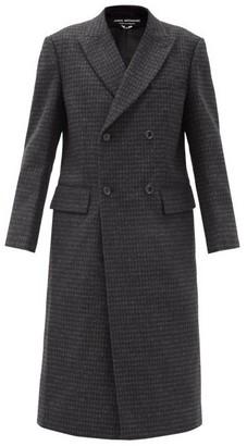 Junya Watanabe Double-breasted Check Wool Coat - Dark Grey