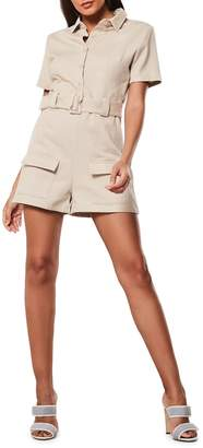 Missguided Button-Up Cotton Cargo Romper