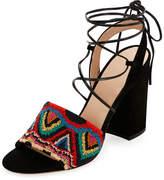 Valentino Garavani Native Beaded Lace-Up Sandal, Multicolor/Nero