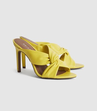 Reiss Ella - Leather Twist Front Heeled Mules in Yellow