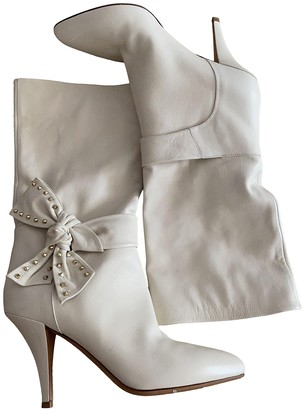 Valentino Rockstud White Leather Boots