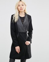Y.A.S Faux Leather Mix Long Coat