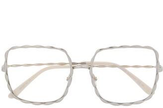 Elie Saab Oversized Square-Frame Glasses