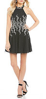 Teeze Me Glitter Patterned Fit-And-Flare Dress