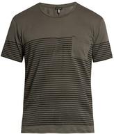 Dan Ward Striped Patch-pocket Cotton T-shirt