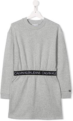 Calvin Klein Kids TEEN gathered-waist sweatshirt dress