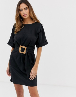 Asos DESIGN mini wiggle dress in linen with buckle belt