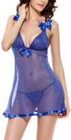 YMING Women Sexy Lingerie See-through Adjustable Staps Babydoll With G-String