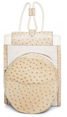 Hermes Beige Canvas & Ostrich Leather Backpack