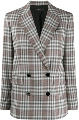 Theory Checkered Double-Breasted Blazer
