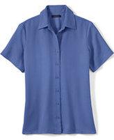Lands' End Women's Regular Short Sleeve Camp Shirt-Blackberry Knots