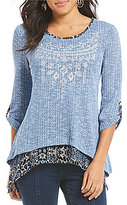 Multiples Roll-Tab Sleeve Embellished Solid Knit Layered Print Georgette Top