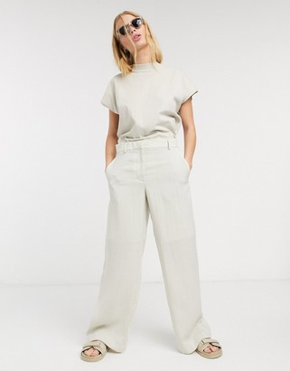 Weekday Mono linen tapered trousers in natural beige