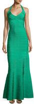 Herve Leger Halter Bandage Mermaid Gown, Green