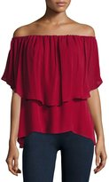 Haute Hippie Off-the-Shoulder Silk Popover Blouse, Crimson