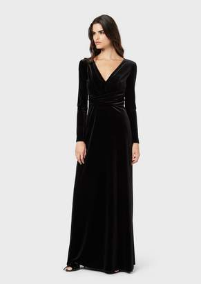 Emporio Armani Chenille Jersey Long Dress With Deep Neckline