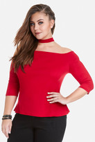 Fashion to Figure Choker Neck Tee With Button Neck