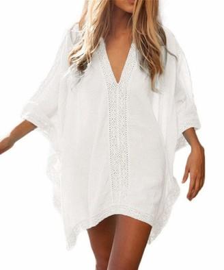 AiJump Women's Cotton Lace Floral Tunic Beach Cover Up Swimwear Dress Bathing Suit