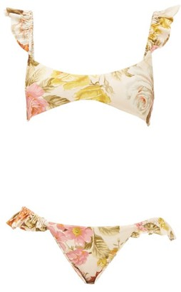 Zimmermann Bonita Ruffled Floral-print Bikini - Cream Print