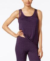 Alfani Mesh-Trimmed Printed Pajama Tank Top, Only at Macy's