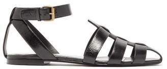 Saint Laurent Oak Caged Flat Leather Sandals - Womens - Black