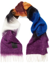 Loewe Fringed Mohair And Wool-blend Scarf - Purple