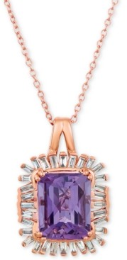 "LeVian Le Vian Baguette Frenzy Amethyst (2-1/2 ct. t.w.) & Diamond (1/3 ct. t.w.) 20"" Pendant Necklace in 14k Rose Gold"