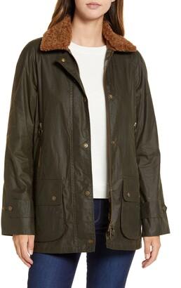 Barbour Goodwood Wax Faux Shearling Trim Rain Jacket