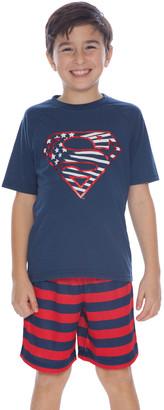 Intimo Boys' Sleep Bottoms PR734: - Superman Navy & Red Stripe Pajama Set - Boys