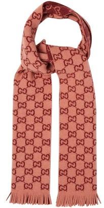 Gucci Logo-print Wool Scarf - Womens - Pink Multi