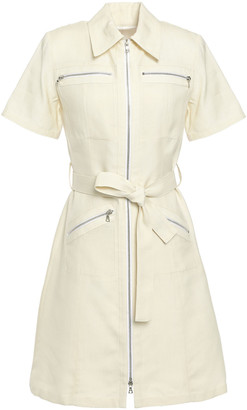 Victoria Victoria Beckham Belted Zip-detailed Woven Mini Shirt Dress