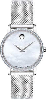 Movado 28mm Museum Classic Diamond Mesh Watch