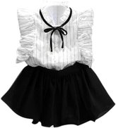 Orangeskycn Girls Stripe Chiffon Culottes Two Pieces Set Clothes Skirt Suit (Age:2-3Y)
