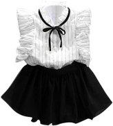 Orangeskycn Girls Stripe Chiffon Culottes Two Pieces Set Clothes Skirt Suit (Age:2-3Y)