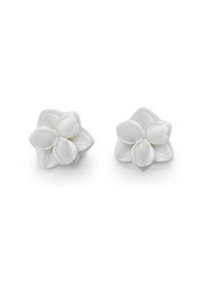 Lladro Orchid Stud Earrings. Porcelain Earrings.