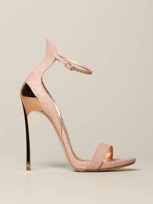 Casadei Glitter Sandal With Blade Heel