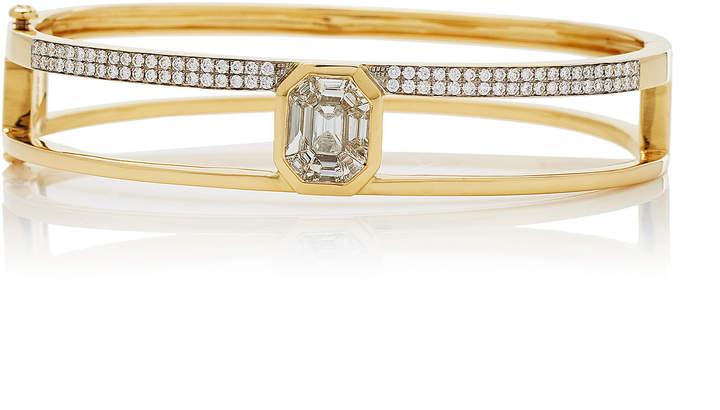 As 29 AS29 Medium 16.5cm Yellow Gold and Illusion Diamond Bangle